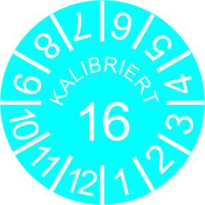 INP-C-K-16, Kalibrier-Plaketten, Jahr 16, blau VPE:10 Karten, 10 Plak/Karte