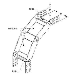 RGS 85.600, Bogen für KR, verstellbar, vertikal, 85x600 mm, Stahl, bandverzinkt DIN EN 10346, inkl. Zubehör