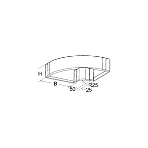 KKW 50.200, GFK-Bogen 90° für KK, klein, 50x200 mm, mit angeformtem Verbinder, Polyester glasfaserverstärkt, gepresst, RAL 7032, kieselgrau