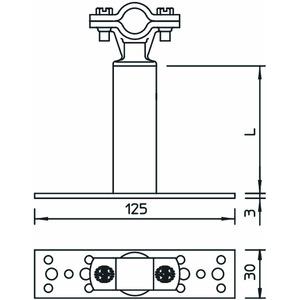 ISO-A-150 8, ISO-Abstandhalter mit Befestigung für RD 8 150mm, PA