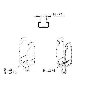 B 12/2, Hammerfuß-Bügelschelle, für 2 Kabel, Ø 10-12 mm, Schlitzweite 16-17mm, Stahl, feuerverzinkt DIN EN ISO 1461, mit Stahldr