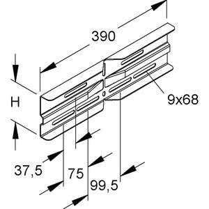 WSWV 105.390, Winkelverbinder, horizontal, 106,5x390 mm, Stahl, bandverzinkt DIN EN 10346, inkl. Zubehör