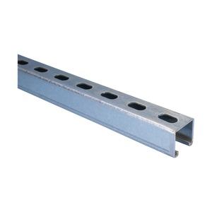A25H6000PG, Montageschiene Typ A, mit Langloch, Stahl, PG, 6.000 mm x 41 mm x 41 mm x 2,5 mm (19,69' x 1,62 x 1,61 x 13 GA)