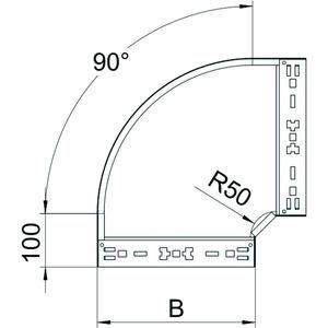 RBM 90 620 FS, Bogen 90° mit Schnellverbindung 60x200, St, FS