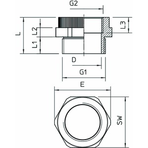 107 ADA PG16-M20, Adapter PG - M PG16-M20, PA, lichtgrau, RAL 7035