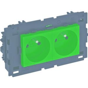 STD-F0C8 MZGN2, Steckdose 0°, 2-fach mit Erdungsstift, Connect 80 250V, 10/16A, PC, minzgrün, RAL 6029