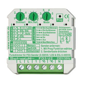 FD3 U2, Funk-Universal-Dimmer 230V AC (UP) mit Zusatzfunktionen, auch f. LED/ESL