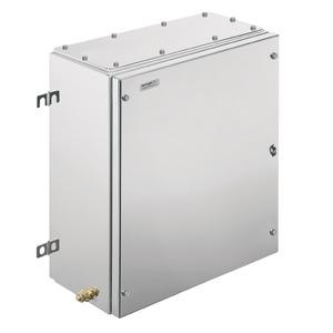 KTB MH 453815 S4E1, Ex-Metallgehäuse, 382 x 458 x 150 mm, elektropoliert, Flanschplatte: Ja, unten, 4 Scharniere und M6 Sechkantschlitzschrauben SW10