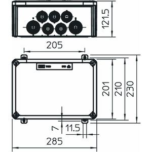 T 350 ED 4-28 AD, Kabelabzweigkasten für Funktionserhalt 285x201x120, PP, pastellorange, RAL 2003