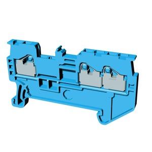 XW5T-P1.5-1.2-1BL, Reihenklemme, Dreifach-Anschluss, DIN-Hutschiene, TS 35, 1mm², Push-In Plus, blau