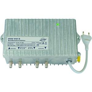 HVO V 44 G, Breitbandverstärker mit 65 MHz Rückweg, ferngespeist, Vorweg bis 1006 MHz, Verstärkung Vorweg 40 / 32 dB, Ausgangspegel Vorweg 111 dBµV, Verstärkung R