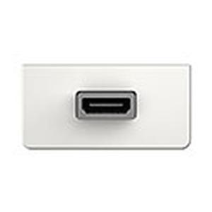 Anschlussblende mit Kabelpeitsche, HDMI Highspeed mit Ethernet, 90° Halbblende, Frontblende aus Kunststoff, RAL 9010 weiß