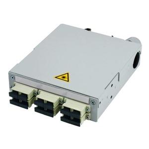 STX Tragschienen-Verteiler mit 6xSC Duplex-Kupplungen, Multimode, Metallhülse/Kunststoffgehäuse