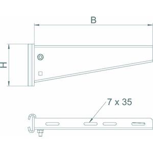 AS 55 61 FTK LGR, Stielausleger für IS 8-Stiel B610mm, St, PE50K, lichtgrau, RAL 7035