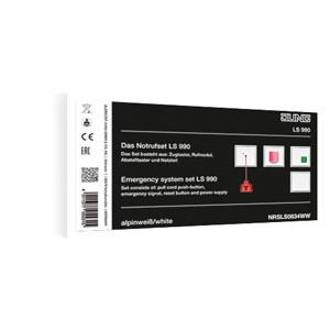 NRS LS 0834 WW, Notrufset (Zugtaster, Rufmodul, Abstelltaster, Netzteil), Schraubbefestigung, 4 Rahmen 1fach Art.-Nr.: LS 981 ..