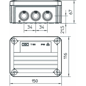 T 100 ED 10-6 F, Kabelabzweigkasten E30/E90, mit Sicherungshalter 150x116x67, PP, pastellorange, RAL 2003