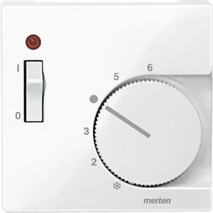 Zentralplatte für Raumtemperaturregler-Einsatz mit Schalter, polarweiß glänzend, System M