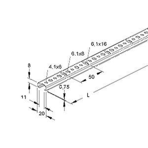 2910/2 SQA, Reihenschiene, C-Profil, Schlitzweite 11 mm, 20x8x2000 mm, gelocht, Stahl, bandverzinkt DIN EN 10346
