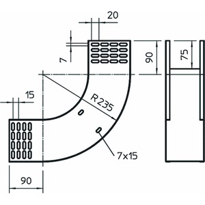 RBV 115 S FT, Vertikalbogen 90° steigend 110x150, St, FT