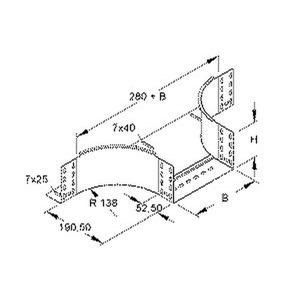 RTA 110.400 E3, Anbau T-Stück für KR, 110x402 mm, mit ungelochten Seitenholmen, Edelstahl, Werkstoff-Nr.: 1.4301, 1.4303, inkl. Zubehör