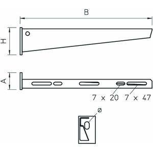 AW 15 21 VA4529, Wand- und Stielausleger mit angeschweißter Kopfplatte B210mm, V5A, 1.4529