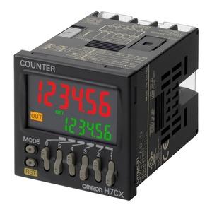 H7CX-AUD1-N, 6-stelliger 2er VW-Zähler, 1 Relais + 1 Transistor, 12..24VDC/24VAC, feste Anschlußklemmen