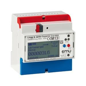 KNX Elektrozähler EMU Superior, 3-Phasen, 1/5A, für Wandlermessung, 5 TE;
