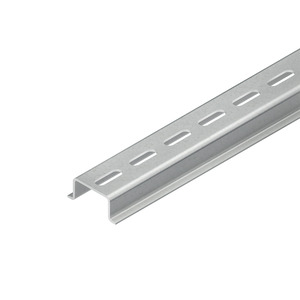 2934/2 GL, Tragschiene, Hut-Profil, 35x15x2000 mm, gelocht, Stahl, galvanisch verzinkt DIN EN ISO 2081, dickschichtpassiviert