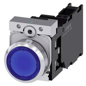3SU1152-0AB50-3FA0, Drucktaster, beleuchtet, 22mm, rund, Metall, hochglanz, blau, Druckknopf, 1S+1Ö