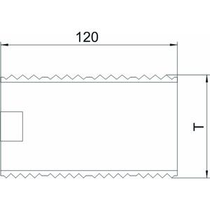 KUPA, Kupplung für Geräteeinbaukanal Alu 120x66,8x0,5, V2A, 1.4301