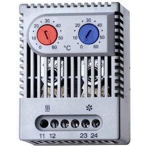 7T.92.0.000.2503, Thermostat für Schaltschrank, 1 Öffner + 1 Schließer 5 A, einstellbar von +0 bis +60 °C