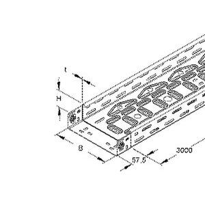 RLVC 60.200, Kabelrinne, gelocht, mit angeprägtem Verbinder, 60x200x3000 mm, CITO, Stahl, bandverzinkt DIN EN 10346