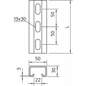MS5030P3000FT, Profilschiene gelocht, Schlitzweite 22mm 3000x50x30, St, FT
