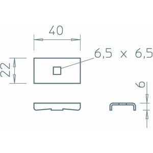 LKS 40 FT, Klemmstück für Kabelleiter L45 und L60 40x22, LKS 40 FT