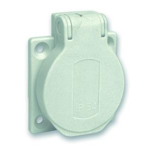 Schukosteckdose, grau, 2p+E, 10/16A, 250 V, für DE, IP54, 50x50mm