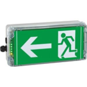 1 2191 030 022, Ex-Notlicht-Rettungszeichenleuchte für Zone 1/21EXIT N, Pfeil 9h (gemäß ISO 7010), 1 x M20, 1 x M20 Schraubverschluss