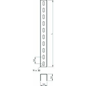 US 5 300 A2, U-Stiel 3-seitig gelocht 50x50x3000, V2A, A2