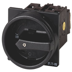 T0-3-8342/EA/SVB-SW, Hauptschalter, T0, 20 A, Einbau, 3 Baueinheit(en), 6-polig, HALT-Funktion, mit schwarzem Drehgriff und Sperrkranz, abschließbar in 0-Stellung