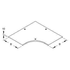 RESDV 200 F, Deckel für Bogen 90° für KR, Breite 204 mm, mit Drehriegel, Stahl, feuerverzinkt DIN EN ISO 1461