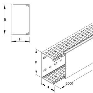 SVK6080.1, Verdrahtungskanal, 60x80x2000 mm, Kunststoff PVC-hart, RAL 7030, steingrau