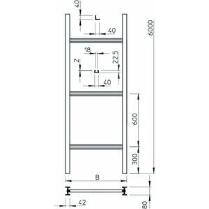 SLS 80 C40 2 FT, Steigeleiter Industrie mit C 40 Sprosse 200x6000, St, FT