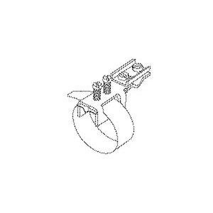 39/1, Erdungs-Bandschelle, quer, Bandlänge 212 mm, für Rohr-Ø 25-48 mm, Messing, vernickelt