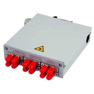 STX Tragschienen-Verteiler mit 6xST Duplex-Kupplungen, Multimode, Metallhülse/Metallgehäuse