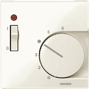 Zentralplatte f. Raumtemperaturregler-Eins. m. Schalter, weiß glänzend, System M
