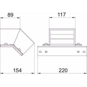 BSKM-EF 0711RW, Etage fallend für abgehängte Montage 70x110, St, L, reinweiß, RAL 9010