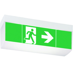 HCGLINE LED HH 3h, LED Rettungszeichenleuchte hohe Haube (Decke+Wand), 1-3h, 17m, 3 Piktogramme,
