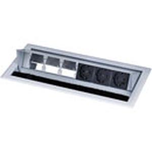 Tischeinbaugehäuse, Leermodul mit 3 x Strom (Schuko)