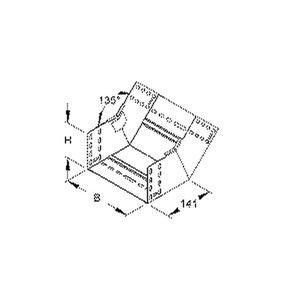 RSB 110.100, Rinnensteigbogen 45° für KR, 110x102 mm, mit ungelochten Seitenholmen, Stahl, bandverzinkt DIN EN 10346, inkl. Zubehör