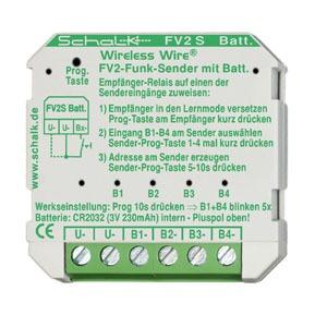 FV2 S (3V DC, Batterie), Funk-Sender mit 4 Eingängen, 3V DC (Batterie) (UP)