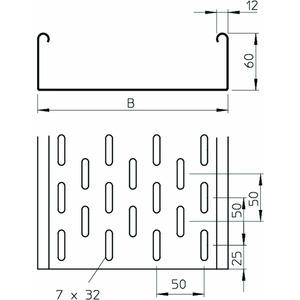 MKS 615 FS, Kabelrinne MKS gelocht, mit Verbinder-Set 60x150x3000, St, FS